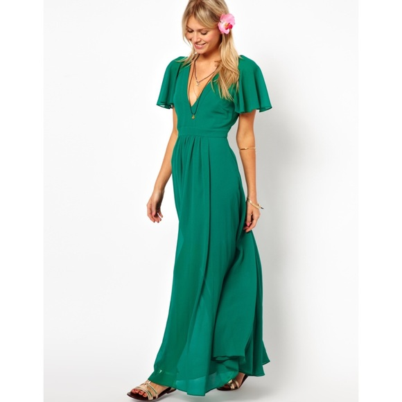 9034cdbca9 ASOS Dresses   Skirts - ASOS Green Deep Plunge Ruffle Sleeve Maxi Dress